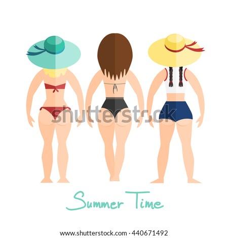 three women  girls in swimsuit