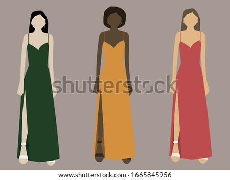 three women in dresses of