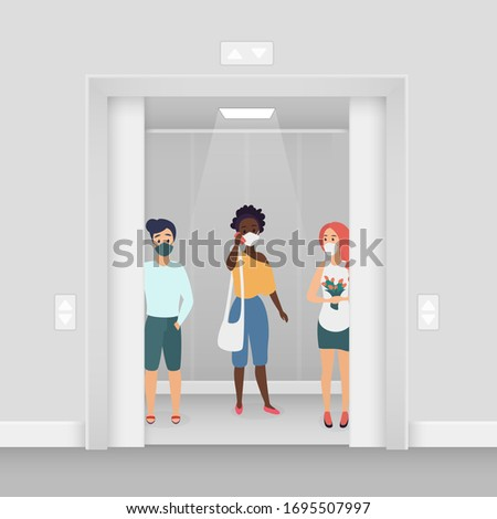 Three women in masks at elevator coronavirus character flat cartoon concept vector illustration. Young women in summer wear stand in masks in elevator. Keep distance covid-19 concept