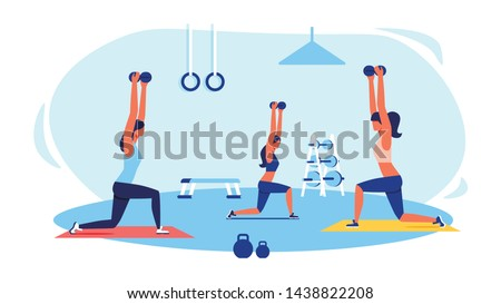 Three Women in Tracksuits Doing Exercises in Gym. Sports Equipment in Gym. Women Doing Squats at Gym. Fitness Class for Woman. Sports Training for Women. Vector Illustration. Healthy Lifestyle.