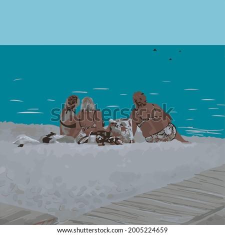 three women on the beach in