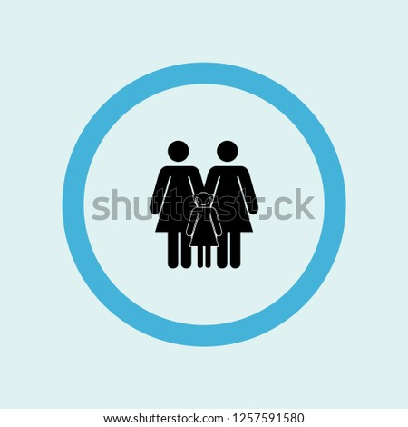 three women two adults and a child icon symbol. Premium quality isolated three women two adults and a child vector icon in trendy style. three women two adults and a child element.