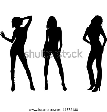 Three womens vector silhouette