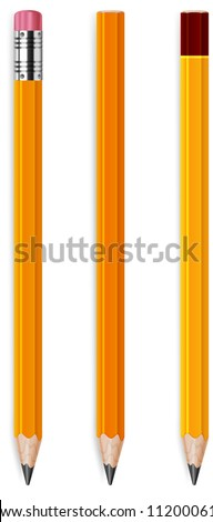 Three wooden sharp pencils isolated on white background, vector illustration