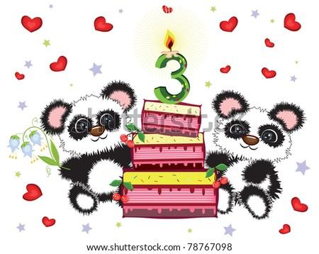 Three years,birthday postcard - stock vector