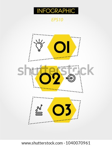 three yellow hexagonal infographic stickers, concept of options