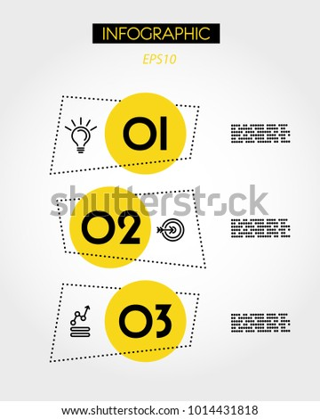 three yellow info rectangular dotted options,  concept of options
