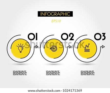 three yellow infographic