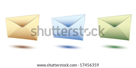 three yeloow, blue and green set of envelopes