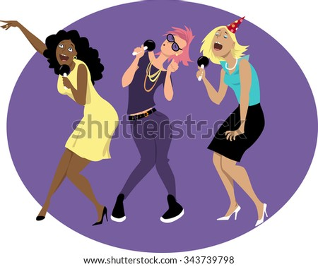 three young funny woman singing