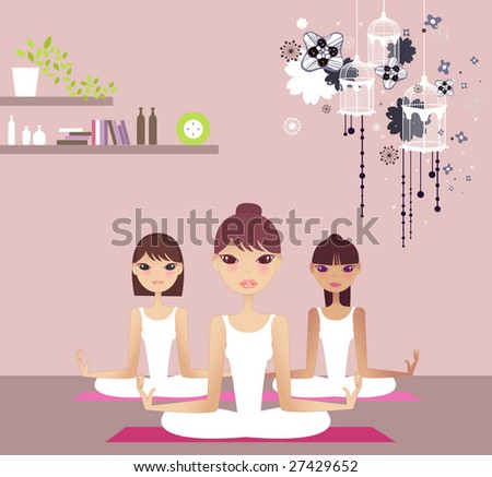 three Young girls doing yoga at living hall