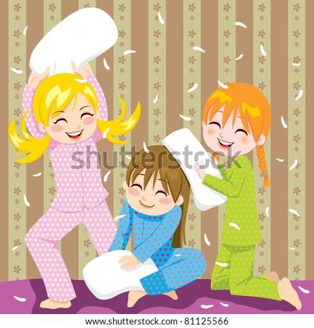 three young girls having fun