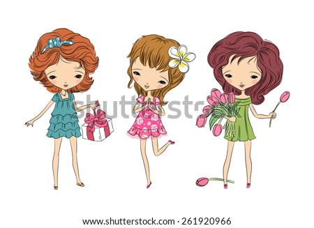 three young girls with gift and