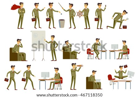 Three young handsome businessmen in formal suits with different brown hairstyles vector illustration art