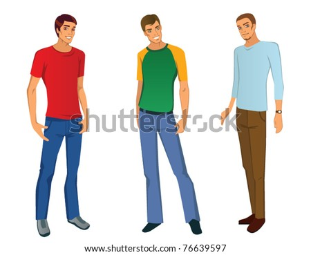 Three young men in casual outfits