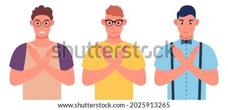 three young men making x shape