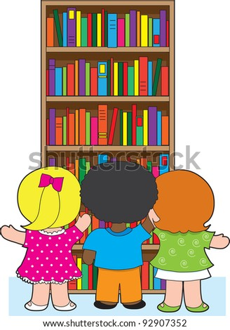 Three young school children are picking out colorful books from a towering bookcase.