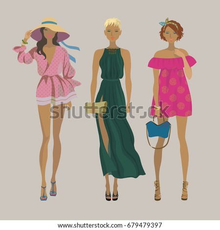 Three young stylish girls. Fashion models. Summer trendy outfits. Vector isolated illustration