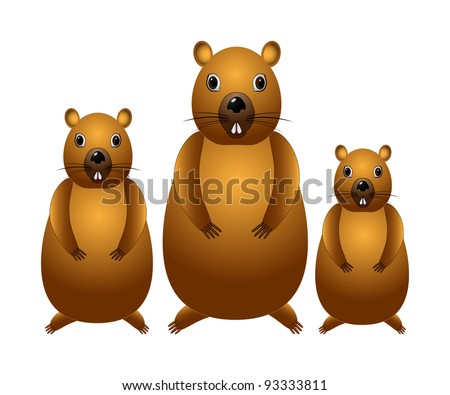Threee marmots isolated in white, cartoon.