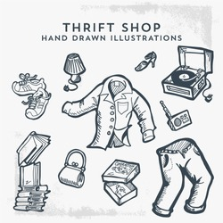 Thrift Shop Hand Drawn Illustrations. Flea market, Garage Sale and Second Hand Items.