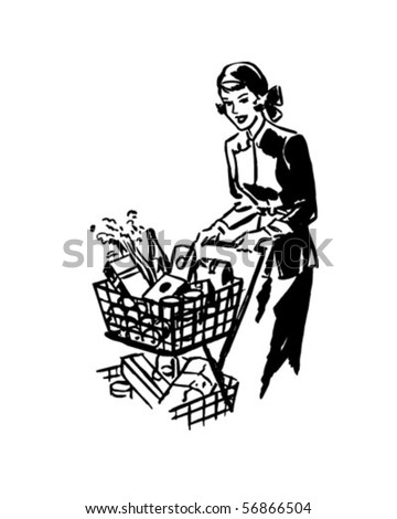 thrifty shopper   retro clip art