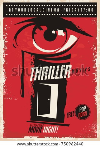 Thriller movies marathon retro poster design idea. Film and cinema movie poster with eye graphic and mystic room door. Vector illustration.