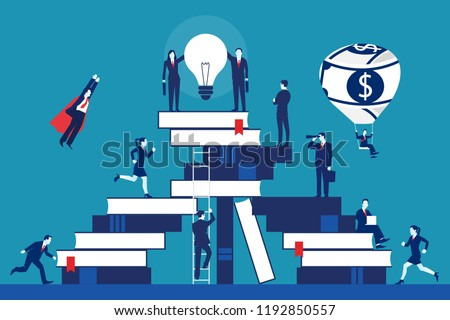 Through education and learning to success concept. Many business people climbing the career ladder made out of book in Different ways isolated on blue background. Vector illustration, Minimalist style