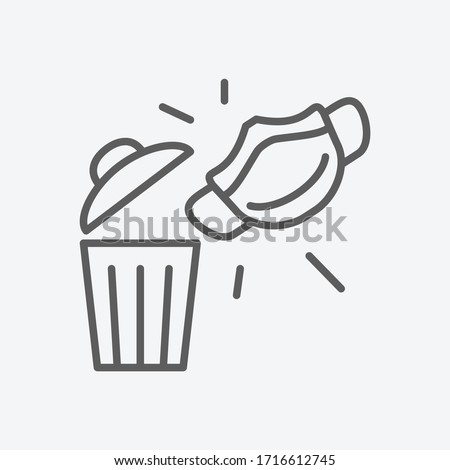 Throw away used mask icon line symbol. Isolated vector illustration of icon sign concept for your web site mobile app logo UI design.