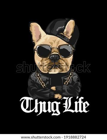 thug life slogan with cartoon