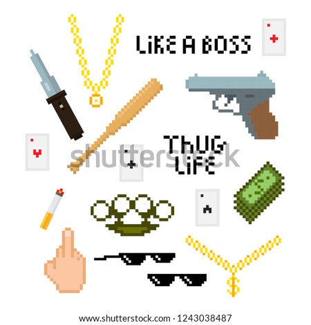 thug life style pixel set with