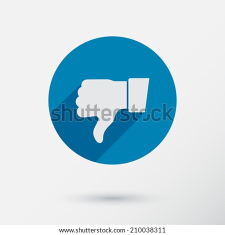 Thumb down applique. Icon. Flat style. Vector Illustration.