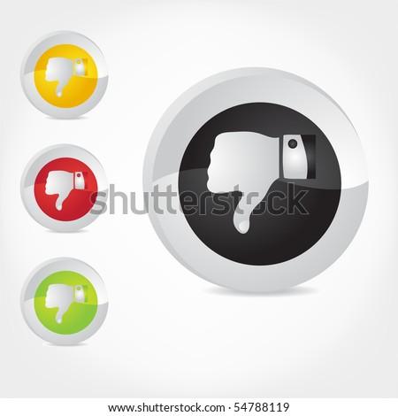 Thumb Down gesture. Vector. - stock vector