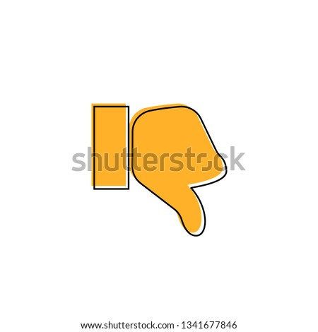 Thumb down vector icon. Style is flat symbol, orange color, rounded angles, white background