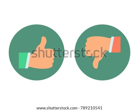 Thumb icon to the top and bottom. Flat vector illustration.