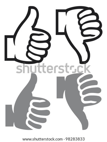 thumb up and down gesture (like and dislike)