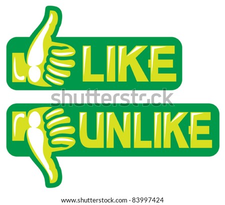 thumb up and down gesture (like and unlike)
