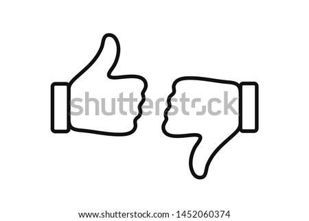 Thumb up and down like and dislike line icons. Set of thumb up and down icons for web design, app, ui, interface software and more.