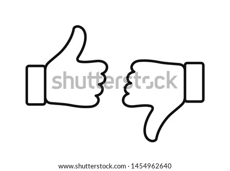 Thumb up and down outline icon isolated on white background. Like and dislike icon. Ready like and dislike outline button for website and mobile app.
