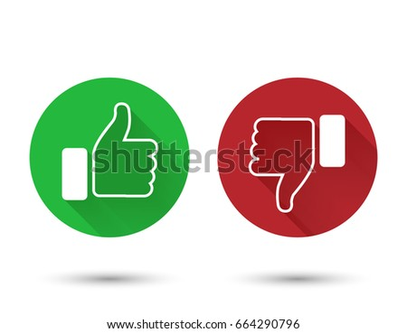 Thumb up and down red and green icons. Vector illustration. I like and dislike round buttons in flat design.