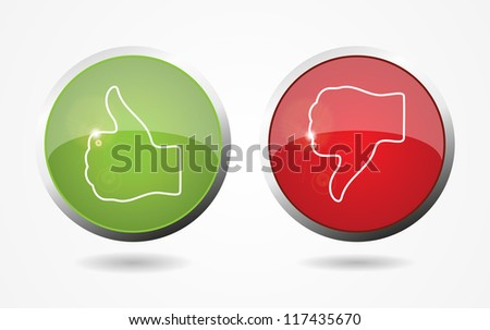Thumb Up And Down Web Color Buttons. Vector illustration. Eps10.