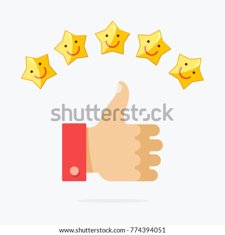 Thumb up and five stars smile. Vector illustration flat