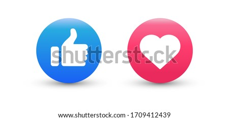 Thumb up and heart icon on white background. Vector illustration.