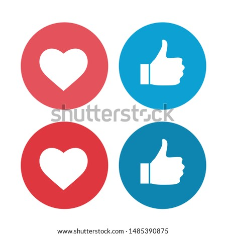 Thumb up and heart icon. Vector like and love icon. Ready like and love button for website and mobile app. vector