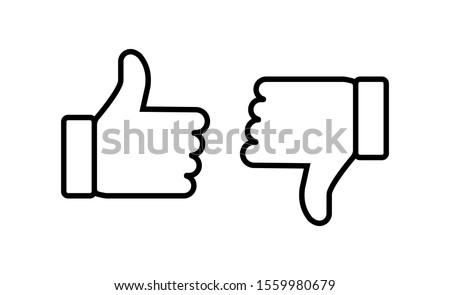 Thumb up and thumb down flat icon. Vector illustration
