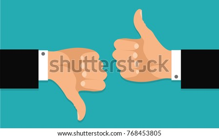 Thumb up and thumb down.Stock vector