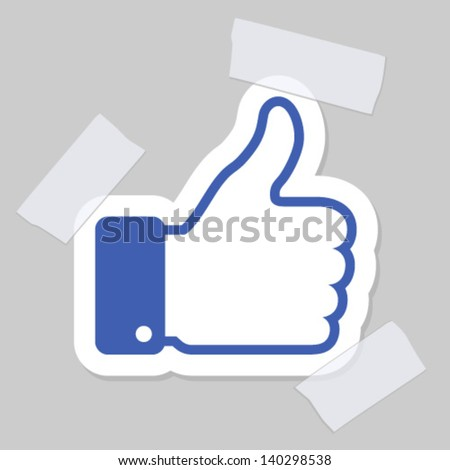 thumb up applique, vector illustration
