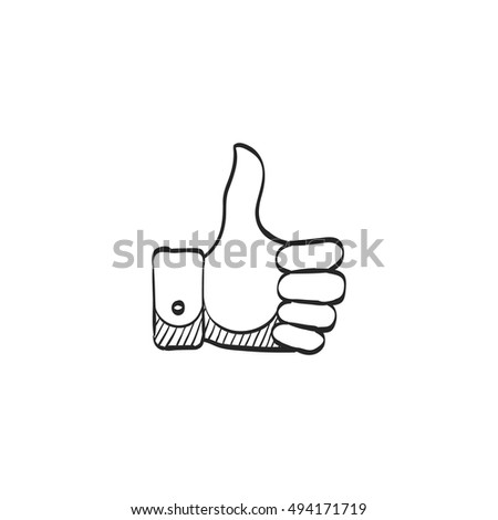 Thumb up hand icon in doodle sketch lines. Internet social media news status update like