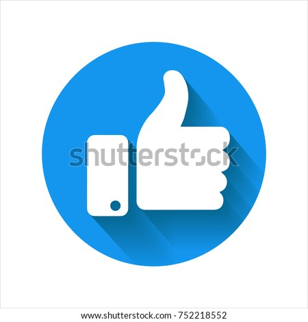 Thumb up icon, blue vector logo. Circle isolated like symbol.