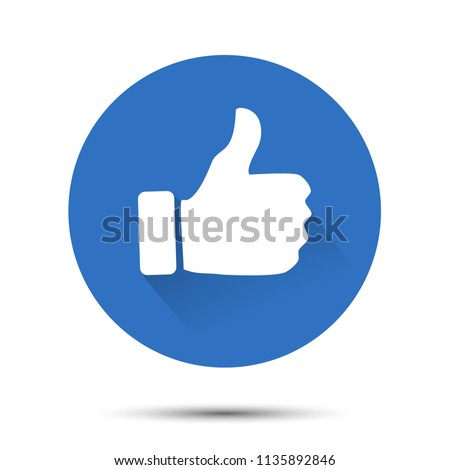 Thumb up icon. Circle isolated like symbol. with drop shadow vector illustration