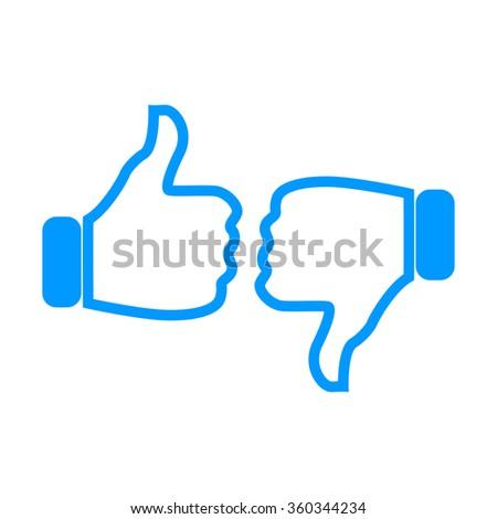 Thumb up icon, flat design. Vector flat